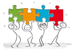stick together – stick figures with puzzle pieces