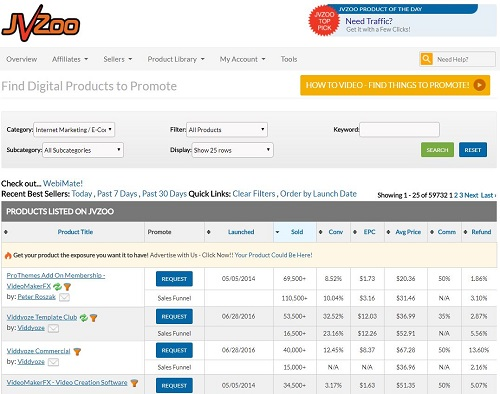 Find affiliate products to promote on JVZoo